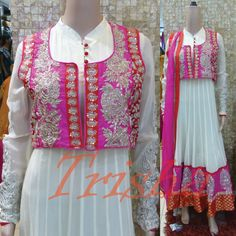 Heavy White Kali Suit With Pink & Red Zari embroidery jacket