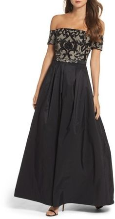 online shopping for Vince Camuto Embellished Off Shoulder Ballgown from top store. See new offer for Vince Camuto Embellished Off Shoulder Ballgown Off Shoulder Ball Gown, Off Shoulder Lace Dress, Glitter Dress, Sequin Dress, Lace Dresses, Bride Dresses, Dress Lace, Prom Dresses, Nude Dress