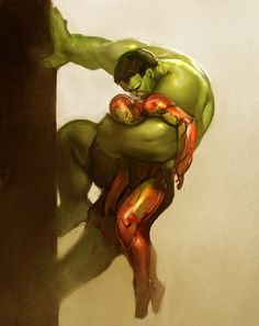 """HULK & IRON MAN. This was one of the best parts in the Avengers movie! I was like, """"GO HULK!!"""" :)"""