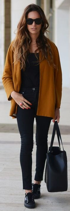 Street style | All black with burned orange coat...me, like, every day