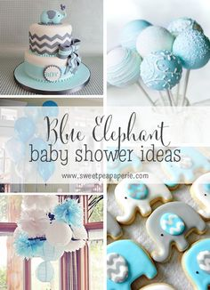 Blue And Gray Elephant Baby Shower Ideas Boy Themes Grey