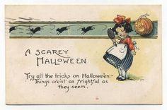Vintage A Scarey Halloween Postcard Mirror Jack O lantern Mice 1920's | eBay