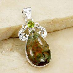 'Nature's Treasure' Green Rainforest Jasper, Peridot & 925 Sterling Brushed Silver Pendant