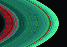 Saturn's rings, as seen in the ultraviolet, show there is more ice toward the outer part of the rings than the inner part. This image was taken with the LASP-built Ultraviolet Imaging Spectrograph (UVIS). (Courtesy NASA/JPL/University of Colorado)