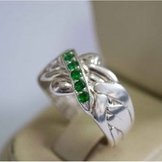 925k Sterling Silver 5 Band 0.18ct Emerald Turkish Puzzle Ring - Sizable 5 to 12 #Dimenticare #Band