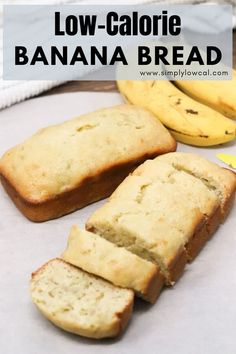Low-calorie banana bread recipe is only 74 calories per slice. It's great for breakfast, snack, dessert, or whenever the mood strikes. | Simply Low Cal @simplylowcal #bananabread #lowcalorie #breakfast #snackrecipes #breakfastrecipes #simplylowcal Chickpea Recipes Easy, Healthy Dessert Recipes, Breakfast Recipes, Snack Recipes, Cooking Recipes, Keto Recipes, Healthy Desserts, Vegetable Recipes, Healthy Foods