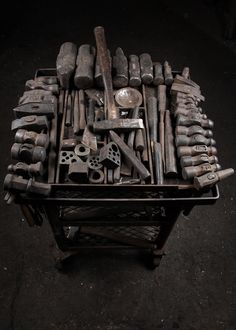 some serious forging tools : javos inronworks : cjhphotography. Love the hammer cart