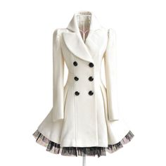 Gorgeous Fashion Ladies Twill Yarn Swing Double-breasted Woolen Coat Free Shipping!  - US$46.99