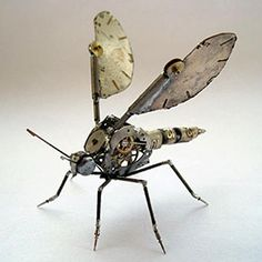 Juxtapoz Magazine - A Mechanical Mind's Tiny Steampunk Insects Spider Robot, Steampunk Animals, Gates, Arte Robot, Old Watches, 3d Prints, Creative Photos, Creative Play, Recycled Art