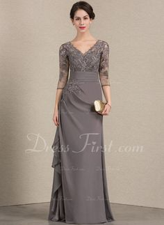 A-Line/Princess V-neck Floor-Length Chiffon Lace Mother of the Bride Dress With Cascading Ruffles - Mother of the Bride Dresses - JJ's House Lace Evening Dresses, Elegant Dresses, Lace Dress, Mother Of The Bride Dresses Long, Mothers Dresses, Bride Groom Dress, Bride Gowns, Mob Dresses, Cheap Dresses