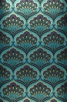 8218 Price per roll per 1571 Retro wallpaper Carrier material Nonwoven wallpaper Surface Smooth Look Shimmering Design Floral damask Basic colour Turquoise blue Patter. Wallpaper Art Deco, Retro Wallpaper, Trendy Wallpaper, Wallpaper Desktop, Black Wallpaper, Phone Wallpapers, Boho Pattern, Pattern Art, Pattern Designs
