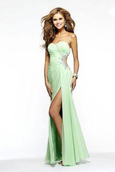 Sexy Prom Dress Column Ruffled Bodice Beaded Floor Length With Slit USD 126.99 VPNSMZ6SQ - VoguePromDresses