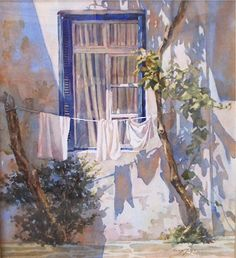 Watercolor of washday Sonya Terpening http://www.amazon.com/The-Reverse-Commute-ebook/dp/B009V544VQ/ref=tmm_kin_title_0 http://www.thesylvangallery.com/Artist/Sonya%20Terpening/washday.JPG