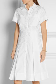 White stretch-cotton poplin Button fastenings through front 97% cotton, 3% elastane Machine wash or dry clean Imported