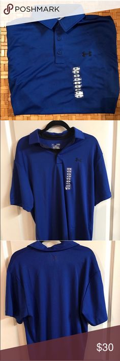 💙New Under Armour Heatgear 💙 💙New without tags. UA Men's heatgear. Collared. three buttons up the front. Tags were removed because it was originally a gift. Size sticker still in place. Gorgeous blue. 100% Polyester. 💙 Under Armour Shirts