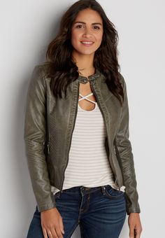 faux leather zip up moto jacket with knit sides in olive green (original price, $69.00) available at #Maurices