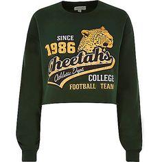 Green Cheetahs cropped sweatshirt - sweatshirts - t shirts / vests - women