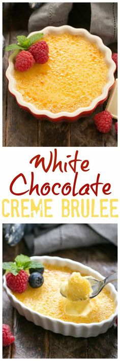 White Chocolate Crème Brûlée - An ultra creamy custard infused with white chocolate and topped with burnt sugar. Fun Desserts, Delicious Desserts, Dessert Recipes, Yummy Food, Healthy Food, White Chocolate Creme Brulee, Chocolate Custard, Yummy Treats, Sweet Treats