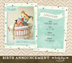 Girl and Boy Birth Announcements Template by LovelyDaysCreative, $8.00
