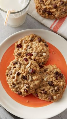 These oatmeal cookies are loaded with chocolate chips, dried cranberries and nuts, making them the perfect on-the-go snack. Spice 'em up by stirring in 1/2 teaspoon cinnamon into the dough!