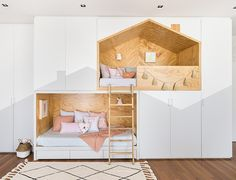 Did you share a room as a kid? Do your little ones share? My little girls are in bunk beds. And I love that they have their special space… Kids Bedroom Designs, Cute Bedroom Ideas, Home Room Design, Kids Room Design, Creative Kids Rooms, Cool Kids Rooms, Kids Room Paint, Small Kids Rooms, Kid Beds
