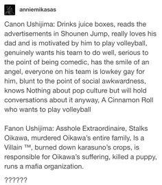 """MURDERED OIKAWA'S ENTIRE FAMILY"" I'M CR YING- but I love Ushijima!"