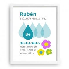 Práctico diseño que permite indicar el grupo sanguíneo de tu bebé. Una manera original de recordar un dato importante. - www.babyprint.es