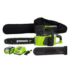 Product review for GreenWorks 20312 G-MAX 40V 16-Inch Cordless Chainsaw, 4AH Battery and a Charger Included. We are taking our Lithium-Ion technology to the next level and giving you the gas comparable alternative chainsaw solution you have been looking for with up to 30% more torque and up to 70% less vibration than gas powered chainsaws. GreenWorks NEW G-MAX 16-inch DigiPro Chainsaw is powered with...