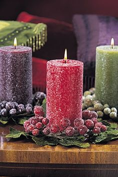 Crystallized Grapes Purple Candle Wreath.