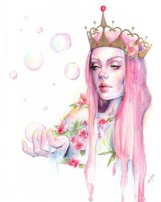 "BUBBLES! 🍬""Princess"" is finally done! My Princess Bubblegum inspired illustration is made with watercolours, coloured pencils and ink 🍭 She's already sold but check out my Etsy for other originals and prints! #portrait #illustration #princess #princessbubblegum #adventuretime #artwork #art #popsurrealism #pink #candy #girlart #beautifulbizarre #surrealism #mixedmedia #watercolour #gold"