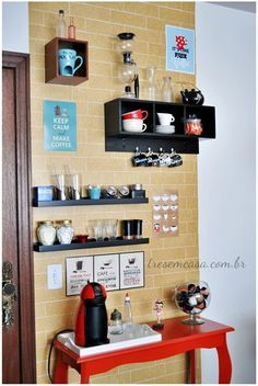 Design cafe wall spaces 34 Ideas for 2019 Coffee Cafe, Coffee Shop, Home Coffee Stations, Coffee Places, Coffee Corner, Interior Design Living Room, Kitchen Decor, Sweet Home, Home Decor