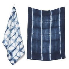 Birdkage's shibori-style tea towels are hand-dyed using naturally-derived indigo.