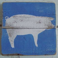 Farm Art Pig On Reclaimed Picket Fencing Wood