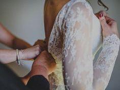 Long sleeved backless lace wedding dress.   Wedding Dress - 'Danna' gown. @kwhbridal #kwhdana  Karen Willis Holmes