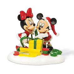 ''Wrapping Gifts'' Minnie and Mickey Mouse Figurine by Dept. 56   Figurines & Keepsakes   Disney Store