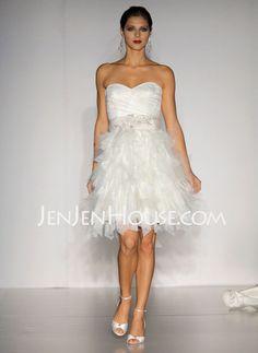 Sweetheart Short Satin Tulle Wedding Dress