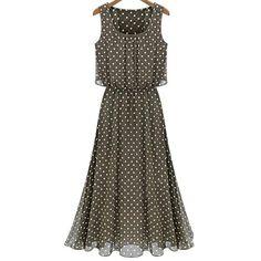 Vintage Scoop Neck Sleeveless Polka Dot Chiffon Women's Dress, KHAKI, 2XL in Chiffon Dresses   DressLily.com