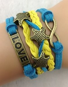 Infinity, starfish, love ModWrap in blue and yellow - perfect beach bracelet for summer! - http://www.gomodestly.com/product/infinity-starfish-love-wrap-bracelet-blue-yellow/