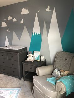 Our Adventure-Themed Nursery - This Little Becker Family Informations About Our. Our Adventure-The Nursery Wall Shelf, Nursery Room, Girl Nursery, Nursery Decor, Nursery Ideas, Rustic Nursery, Nursery Themes For Boys, Boy Nursery Colors, Baby Room Colors