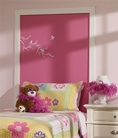 Bedtime Story Headboard Bedtime Story HeadboardA headboard worth framing. Tell your creative story on a headboard that becomes a canvas in a millwork-moulding frame. #BeautiTone paint kids home decor - DIY