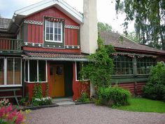 Carl and Karin Larsson's Lilla Hyttnäs. Sundborn, Sweden. Karin's father, Adolf Bergöö, gave Lilla Hyttnäs to Carl and Karin in 1888. Throughout the years they, with their 8 children, transformed the little cottage into one of the world's best known and decorated artist's homes. The house was originally built in 1837.  The home still remains in the Carl and Karin Larsson Family Trust.