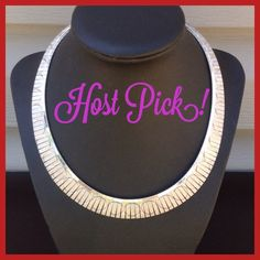 Host Pick Sterling Silver Choker 17 inch choker with beautiful detail. As you can see there are individual lines of silver and in those lines are circles. Lays perfectly flat on your neck. Jewelry