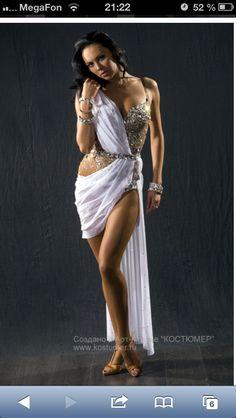 Draped Grecian goddess Latin white dress / платье бальные танцы латина белое