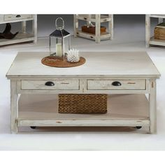 Willow Cocktail Table Distressed White Progressive Furniture