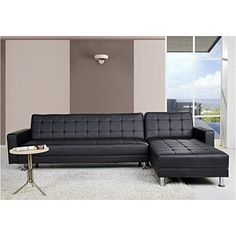 Brika Home Faux Leather Convertible Sectional in Black ** You can find more details by visiting the image link.