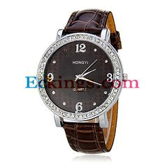 Women's Diamante Round Dial Pu Band Quartz Analog Wrist Watch (Assorted Colors) : Online Shopping for Watches, Toys & more