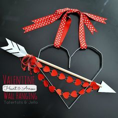 Create a Valentine Heart and Arrow Aluminum Wall Hanging! -- Tatertots and Jello wall hangings, diy valentine's day, arrow, aluminum wall, heart wall, valentin bow, hang tutori, industr bow, 4 kids