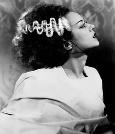 Elsa Lanchester in 'Bride of Frankenstein'. If you want this look, there's a Martha Stewart tutorial out there...