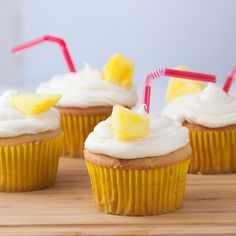 Bring the tropics to your own backyard with these fun and fruity Pina Colada Cupcakes.
