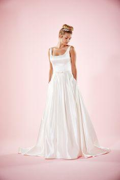 Ivory Scoop Neck Sleeveless Sleek Taffeta Long A-line Wedding Dress